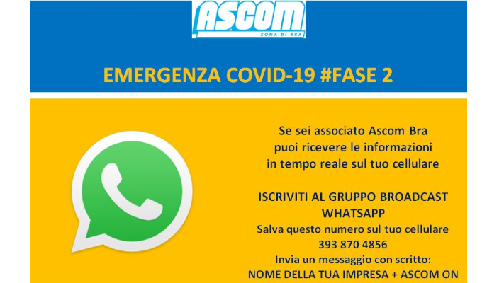 BROADCAST WHATSAPP PER GLI ASSOCIATI ASCOM BRA